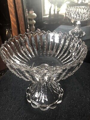 $32 • Buy EAPG 1890s ZIPPER Pattern Glass High Standard Open Compote EXC COND