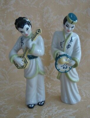 $15.95 • Buy Pair Of Vintage Ceramic Arts Studio Figurines Chinese Musicians