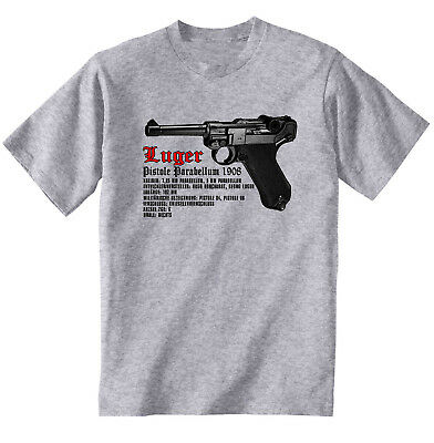 Luger Parabellum P08 - New Cotton Grey Tshirt • 16.99£