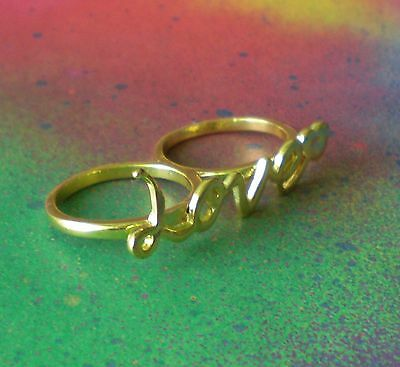 $ CDN23.71 • Buy Gold Plated Two 2 Finger  Love  Brass Knuckle Ring Statement Fashion Ring Size 8