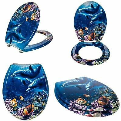 £119.95 • Buy Novelty Mdf Dolphin With Sea Creatures Toilet Seat Strong Silver Hinges Bathroom