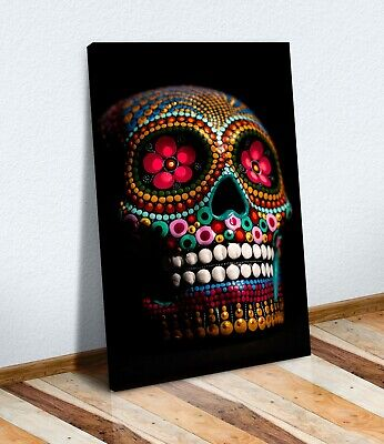 Candy Skull Black  Canvas Wall Art Artwork 30mm Deep Framed Print • 12.99£