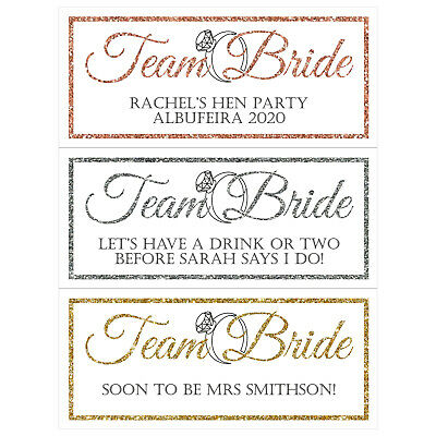 £3.50 • Buy 2 X PERSONALISED HEN PARTY BANNERS Team Bride Rose Gold / Gold / Silver Glitter