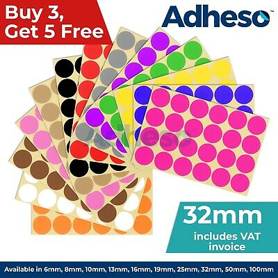 Adheso 32mm Coloured Dot Stickers Round Sticky Dots Adhesive Circles Labels • 0.99£