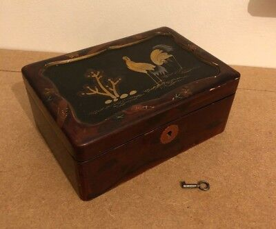 £34.99 • Buy Small Vintage Chinese Japanese Lacquer Tea Caddy With Key