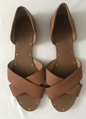 b109dc3b839 Madewell Tan Leather Natural Brown Size 10 Shoes Sandals Flats • 19.95