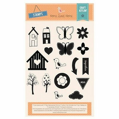 Craft Asylum Clear Stamps - Home Sweet Home - 480050 - Flowers  - REDUCED • 2.95£