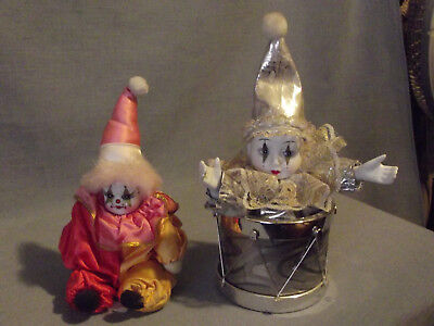 $ CDN10.83 • Buy Lot Of 2 Porcelain & Cloth Harlequins - One Working Musical In Drum, One Doll