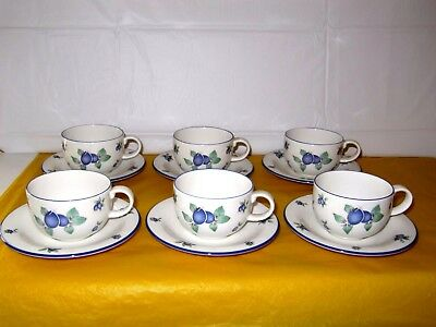 6 ROYAL DOULTON BLUEBERRY CUPS&SAUCERS,CUP Dia 3.5 , Tall 2.5 , Used In VGC • 28£