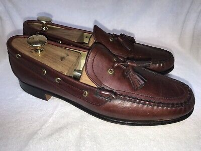 28715ad5786 Vtg Reddish Brown COLE HAAN Moc Toe Tassel Loafers Mocassin 11.5A MADE IN  USA •