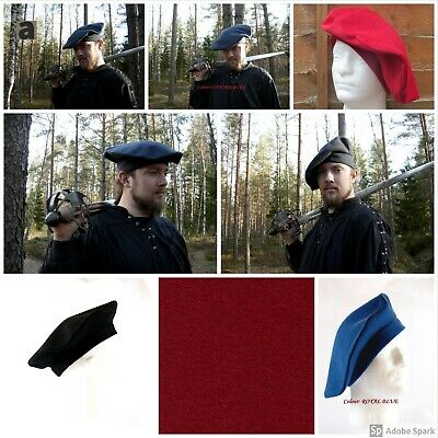 Medieval Tudor Hat Bonnet Big Round Hat Beret100% Wool Lined With Cotton  • 13.99£