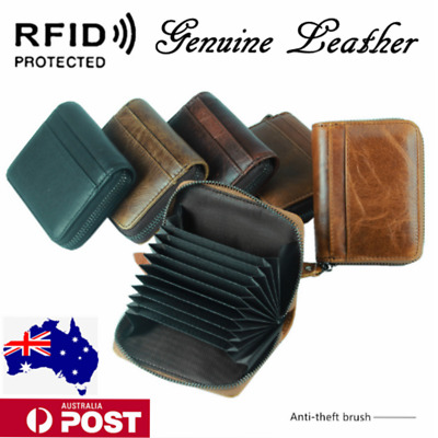 AU15.99 • Buy RFID Genuine Leather Credit Card Holder Pocket Wallet For Business Travel Money