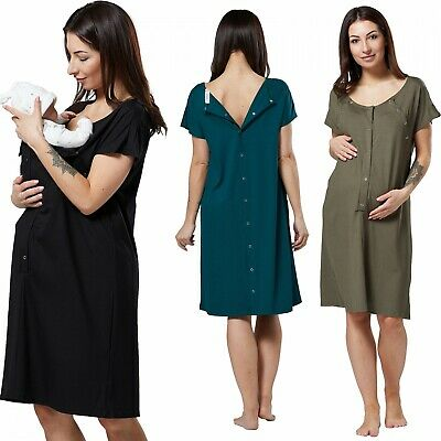 Happy Mama Women's Maternity Nursing Delivery Hospital Gown Nightshirt 538p • 19.99£
