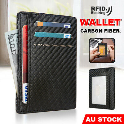 AU8.95 • Buy Carbon Fiber Slim Wallet Card Holder Case Pocket Mens Leather Purse RFID Block