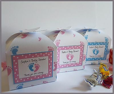£2.80 • Buy Personalised Baby Shower / Christening Favour Or Small Cupcake Boxes - Footprint