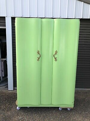 AU250 • Buy 1950s Wardrobe Lime Green Curved Wood