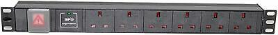 1U 6 Way 13A PDU 19  Inch Rack Switch Surge Protected Power Distribution Unit  • 19.95£