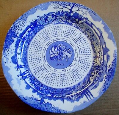 £10.99 • Buy Ringtons Collectors Calendar Plate SEASONS 2002 Blue And White