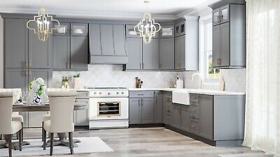 $3399.99 • Buy RTA Wood 10X10 Modern Shaker Grey Kitchen Cabinets Dark Gray Lifetime Warranty