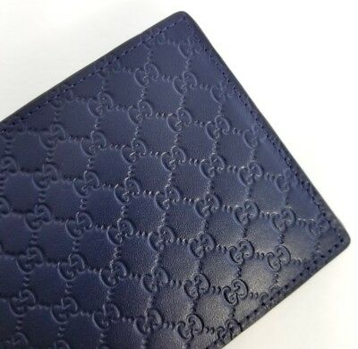 df9caf43694f New Gucci Authentic Mens Blue - Navy Micro Guccissima Bi Fold Wallet With  Box • 289.00