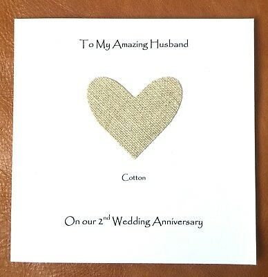 2nd Wedding Anniversary Card Cotton Anniversary Wife Husband Fawn Square Card • 4.25£