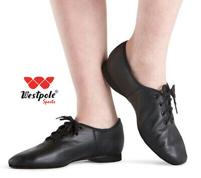 WESTPOLE JAZZ DANCE SHOES Black Leather TAP DANCE Pumps Irish Ballet Shoe Pointe • 9.99£