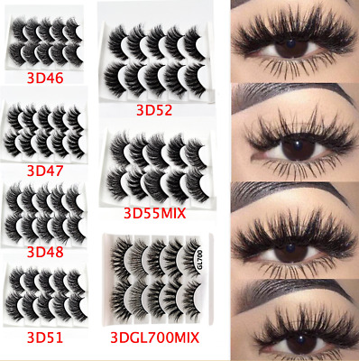 UK 5 Pairs 3D Fake Eyelashes Long Thick Natural False Eye Lashes Set Mink Makeup • 3.59£