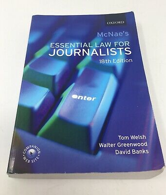 £3.99 • Buy McNae's Essential Law For Journalists, Banks, David,Greenwood, Walter,Welsh, Tom