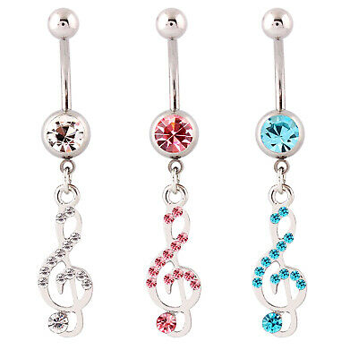 MUSIC NOTE BELLY BAR Crystal Clef Surgical Steel Dangle Pink Navel Body Piercing • 2.49£
