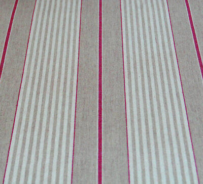 French Ticking Machine Washable Oilcloth Vintage Red Striped Linen Table Cloth • 8£
