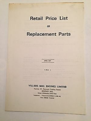 VILLIERS Mag Engines Original Price List Replacement Parts April 1977 V.M.E. 1 • 20£