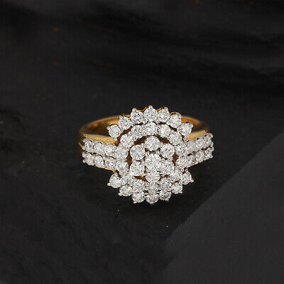 AU4854.72 • Buy 1.44Ct Diamond Cocktail Ring Designer Solid Pave 14K Yellow Gold Wedding Jewelry