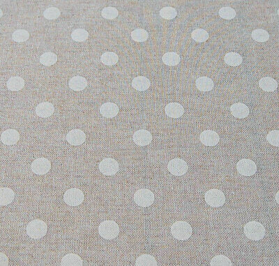 French Linen Oilcloth Cream Polka Dot Machine Washable Wipe Clean Tablecloth  • 8£