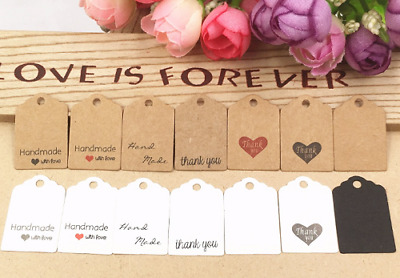 100 Pcs 3x2cm Hand Made With Love Kraft Paper Tags Thank You Labels  • 3.05£