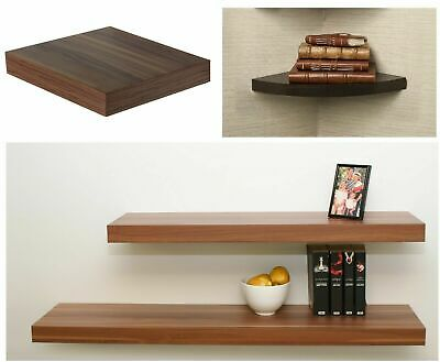 Hudson Walnut Wood Wooden Floating Shelves Shelf Unit Kit Wall Mounted Display • 16.95£