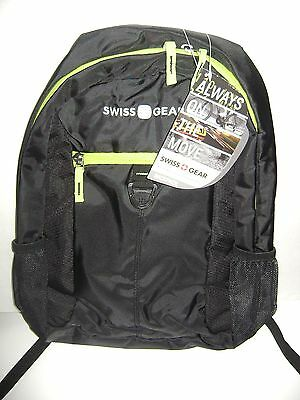 Swiss Gear Back-Pack For Back To School - Book Bag - Black & Trim Green NWT • 10.72£