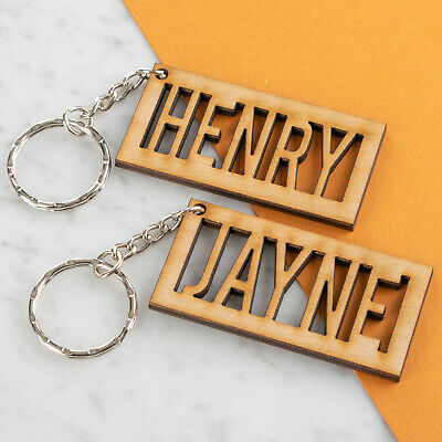 Personalised Wooden Keyring Any Name Engraved Keychain • 3.99£