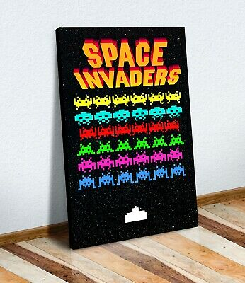 CANVAS WALL ART PRINT ARTWORK 30MM DEEP FRAME  Retro Gaming Space Invaders • 12.99£