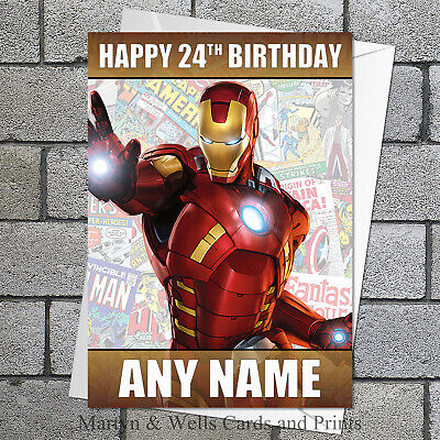 Iron Man Personalised Birthday Card. 5x7 Inches. Marvel Avengers. • 3.85£