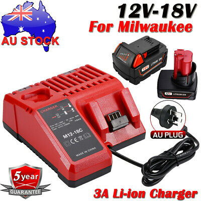 AU42.99 • Buy For Milwaukee M12 M18 Battery Charger 12V-18V Lithium M12-18C 220V 48-59-1812 AU