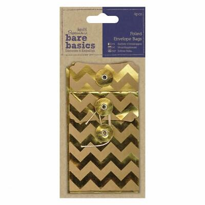 4 X Papermania Bare Basics Chevrons Kraft Foiled Envelopes Bag With String Tied • 4.49£