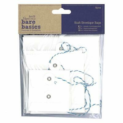 6 X Papermania Bare Basics Kraft Square Envelopes Bag With String Tied White • 6.99£