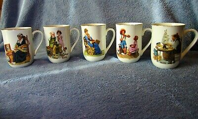 $ CDN9.50 • Buy Set Of 5 1982 Norman Rockwell Museum Set Of Authenticity Porcelain Cups/Mugs