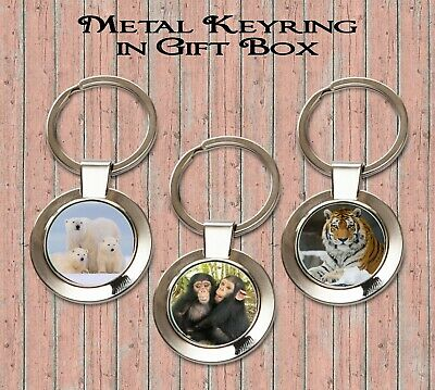 £4.75 • Buy Wild Animals Metal Keyring In Black Gift Box Whale Chimps Tiger Meerkats Dolphin