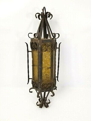 $116.99 • Buy Vintage Gothic Style Metal And Yellow Glass Hanging Lamp
