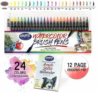 $19.99 • Buy Instant Watercolor Brush Pens Set - 24 Colors W/ Blender & Draw Pad