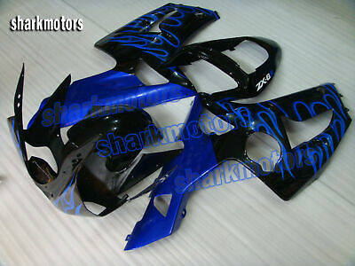 $369.53 • Buy Fairing New Blue Flames Black Fit For Ninja 636 ZX6R 2003-2004 Injection Mold B5