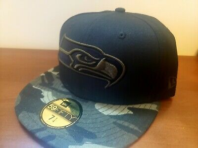 timeless design 3bc0f 695d9 Seattle Seahawks New Era Black And Woodland Camo 59FIFTY Fitted Hat • 21.00