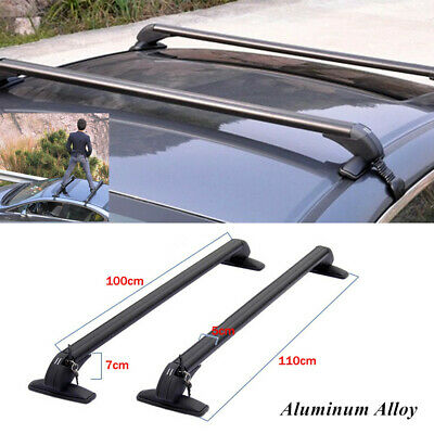 $130.90 • Buy 2× Car SUV Roof Rail Luggage Rack Baggage Carrier Cross Aluminum W/ Accessories