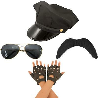 YMCA Gay Village People Biker Hat Gloves Moustaches And Glasses 80s Fancy Dress • 9.49£